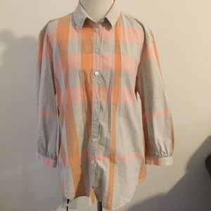 Burberry Brit plaid button down shirt large